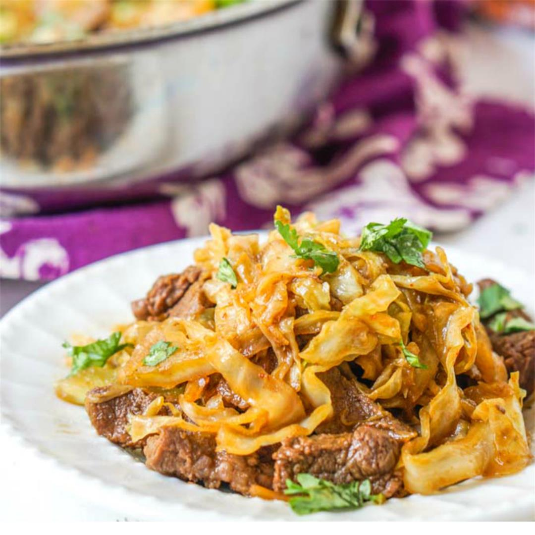 Low Carb Asian Beef & Cabbage Noodles