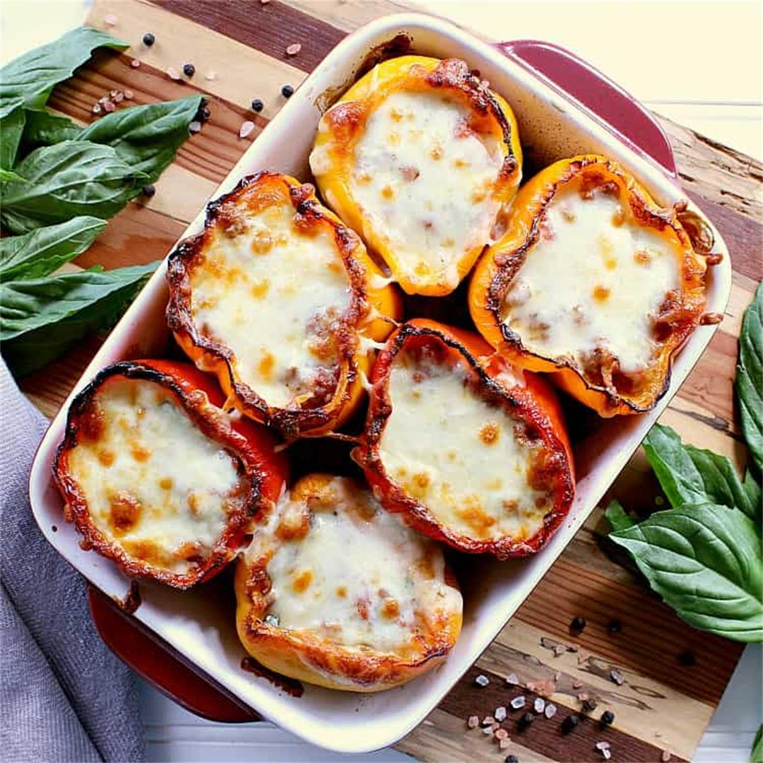 Easy Keto Stuffed Peppers with Beef, Chorizo & Basil