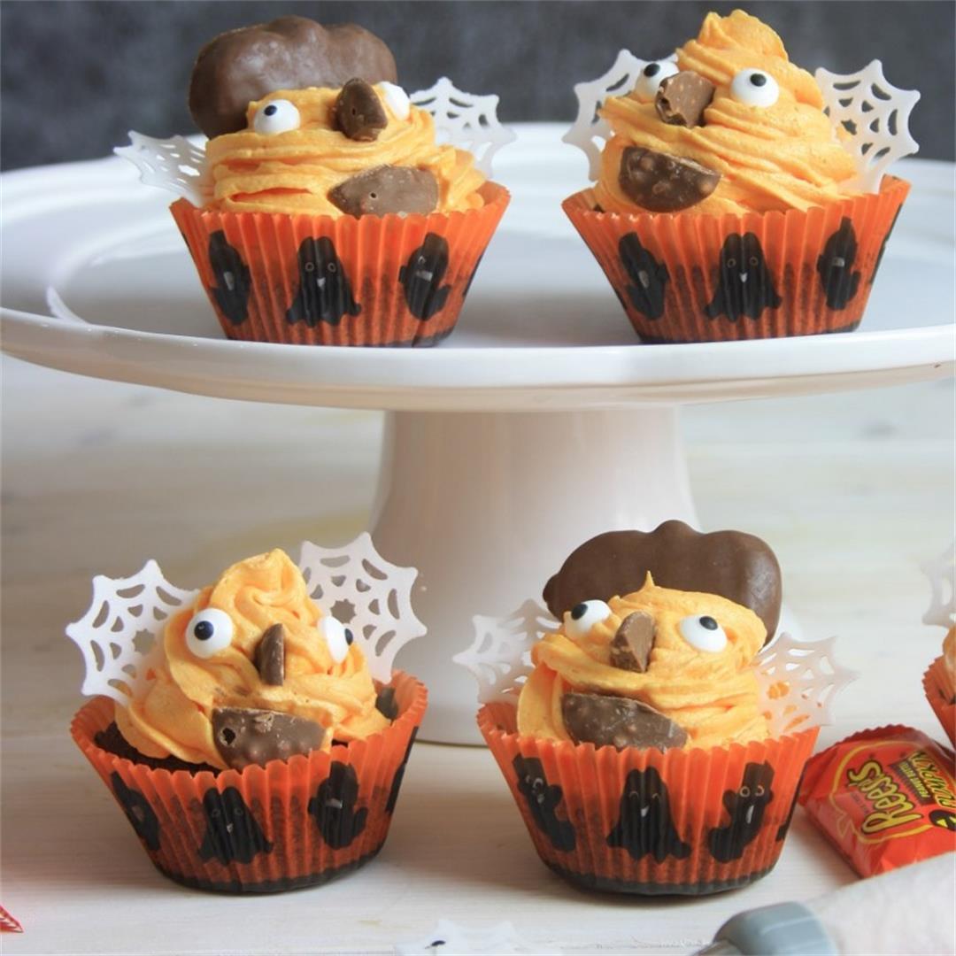 Halloween Cupcakes with Orange & Chocolate