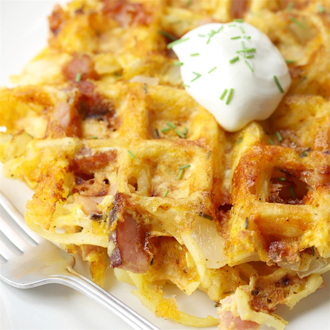 Ham and Cheese Hash Brown Waffles