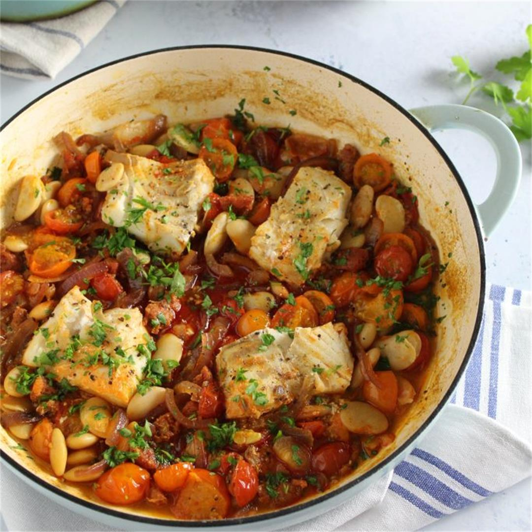 Cod and Chorizo Bake with Tomato and Butter Beans