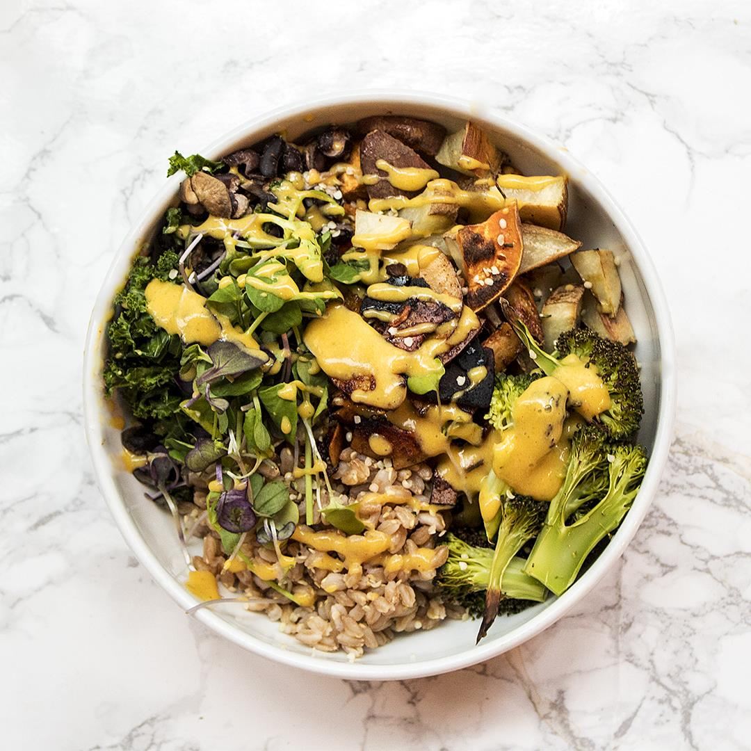 Vegan Farro Sweet Potato Broccoli Bowl with Queso and Coconut B