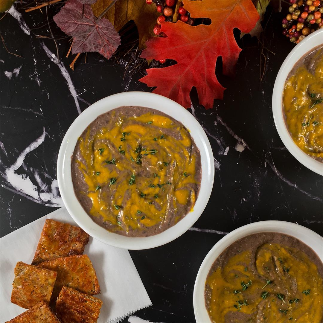 Quick Black Bean Soup with Pumpkin Swirl
