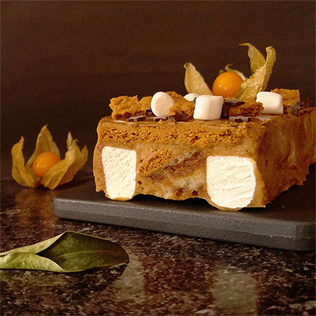 Biscoff S'mores Eggnog No Bake Cake
