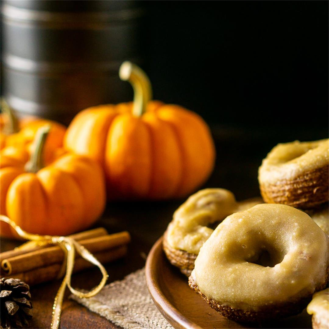 Pumpkin Crullers With Caramelized Maple Glaze