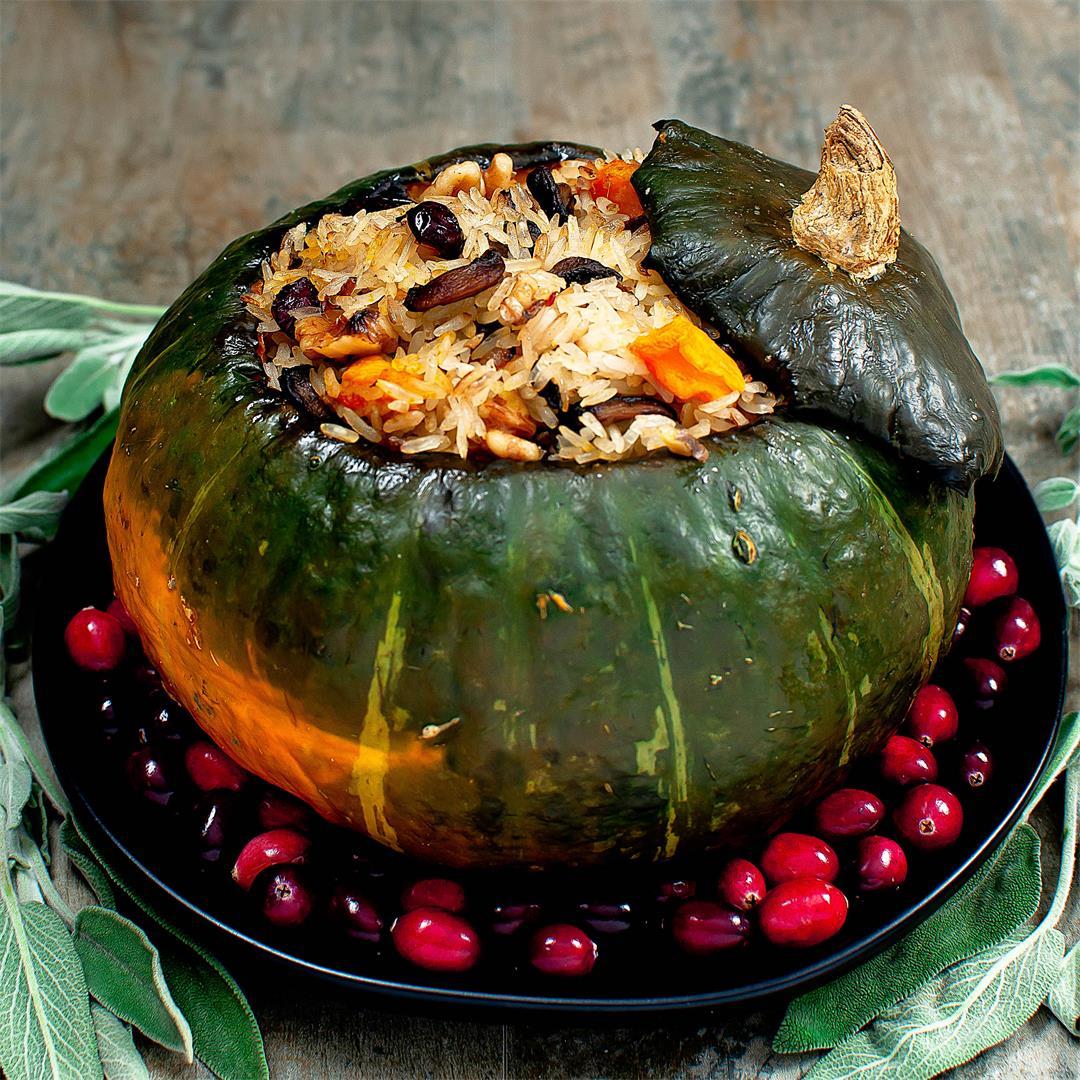 Vegan Stuffed Kabocha Squash (Rice, Mushroom, Sage)