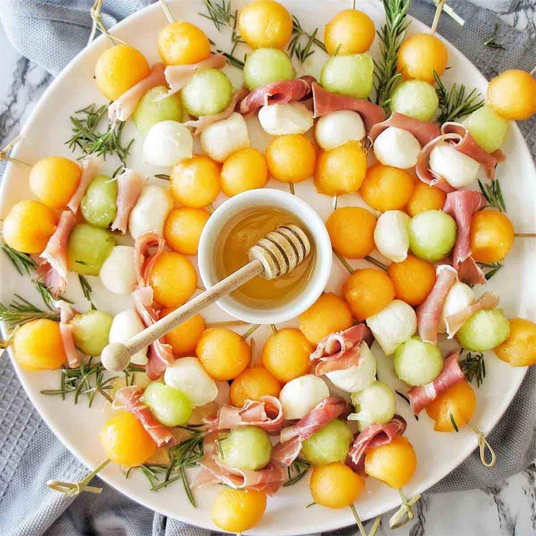 Melon and Proscuitto Skewers
