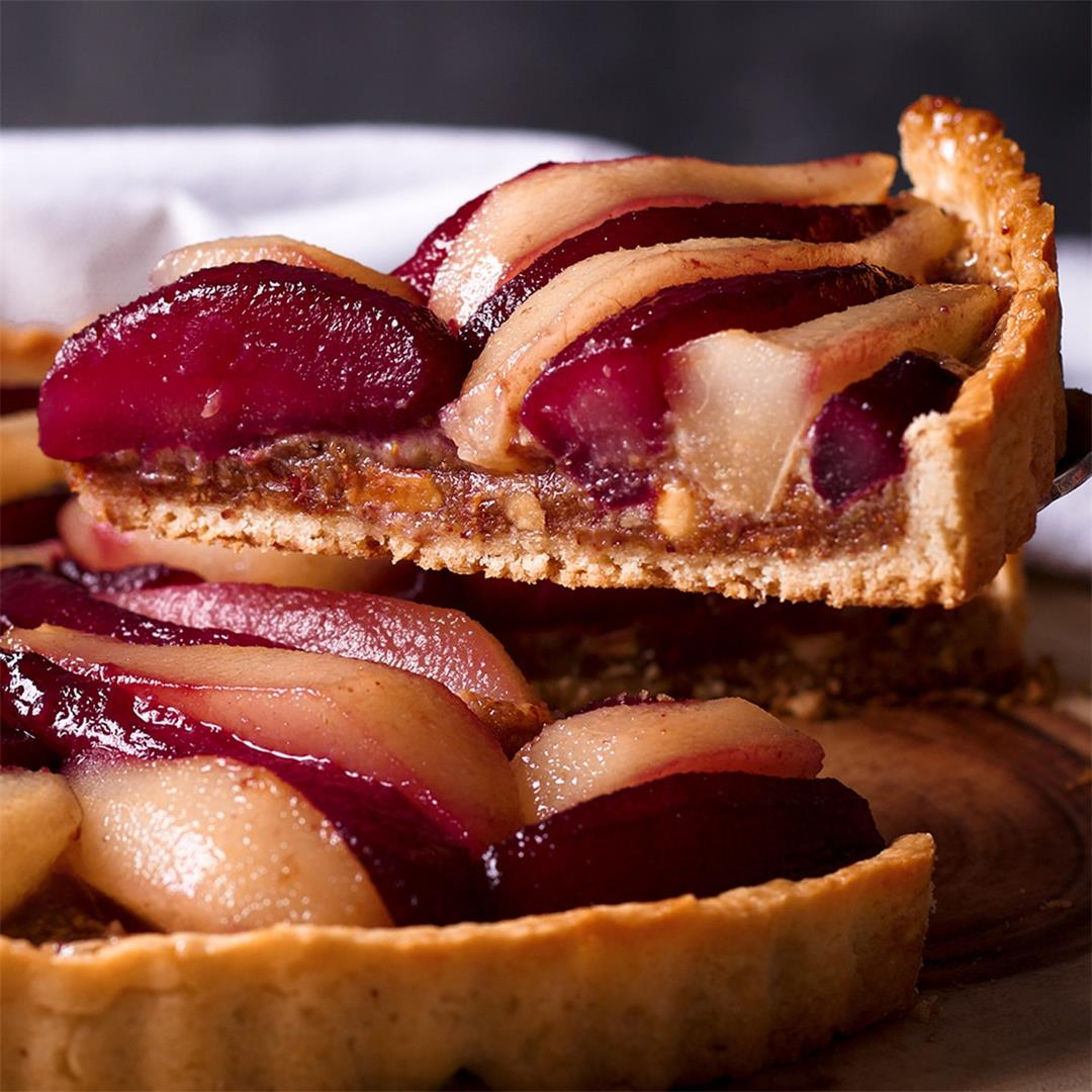 Pear Tart with Wine Poached Pears and Frangipane