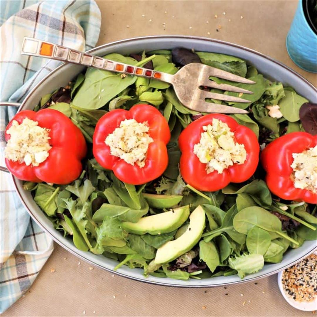 Tuna Egg Salad Stuffed Peppers-Low Carb