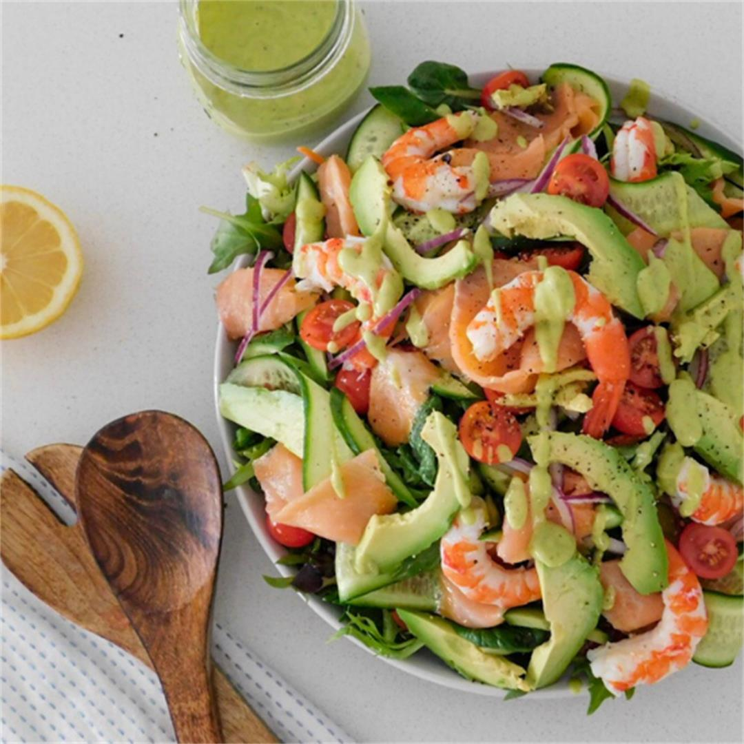 Smoked Salmon & Prawn Salad with a Creamy Avocado Dressing