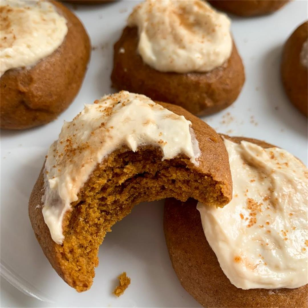 Whole Wheat Pumpkin Cookies with a Maple Cream Cheese Frosting