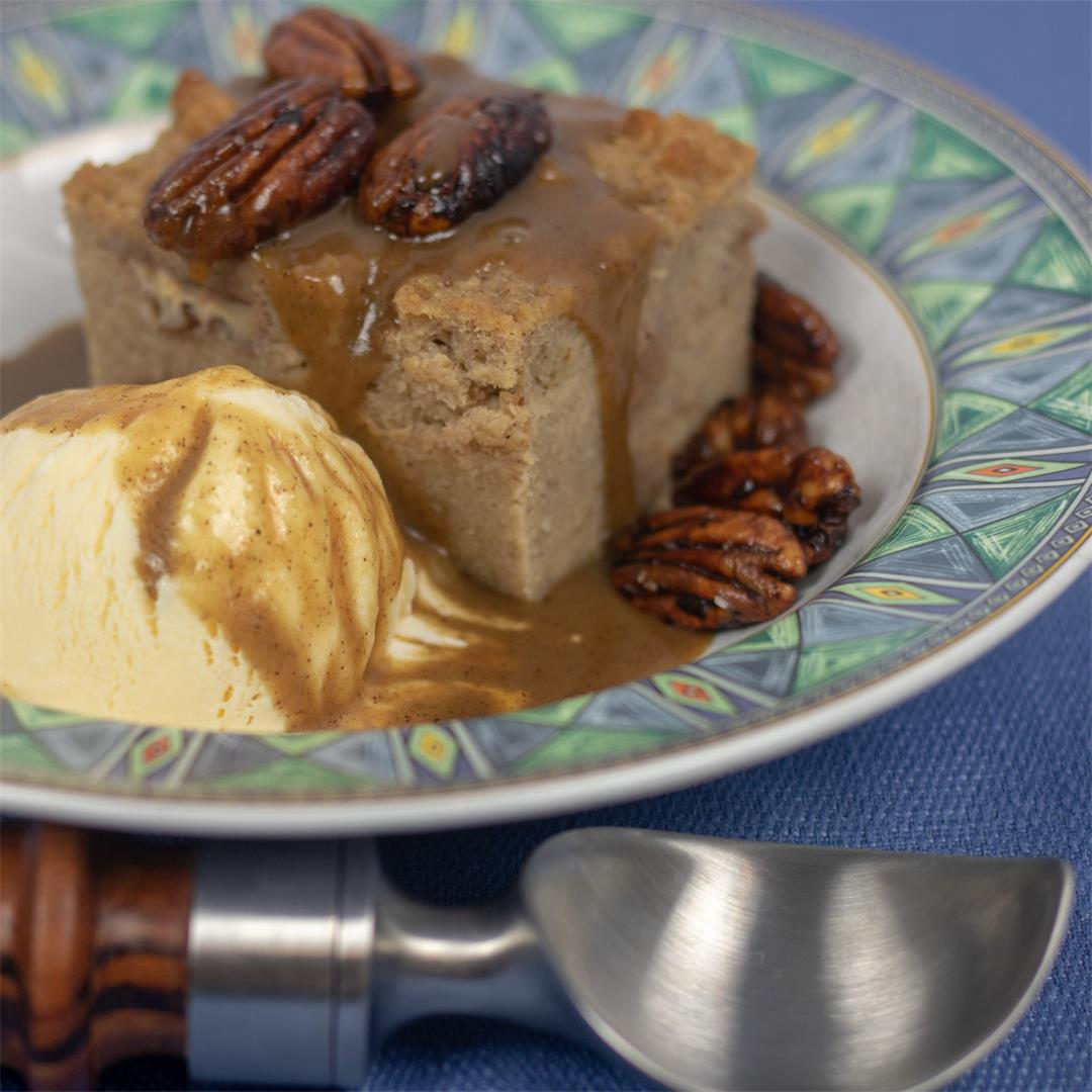 New Orleans Bread Pudding with Cane Syrup Rum Sauce