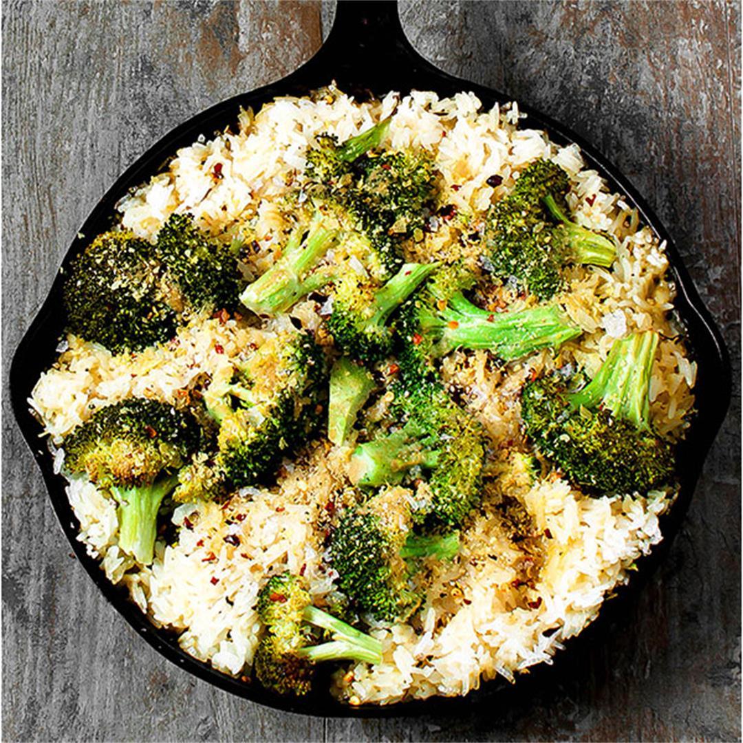 Vegan Broccoli Cheese Rice Casserole