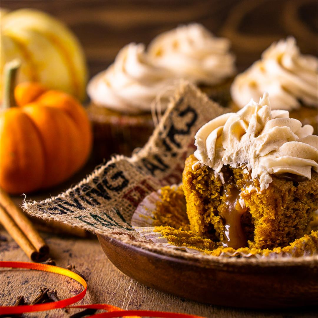 Brown Butter-Pumpkin Cupcakes With Bourbon Caramel Frosting and