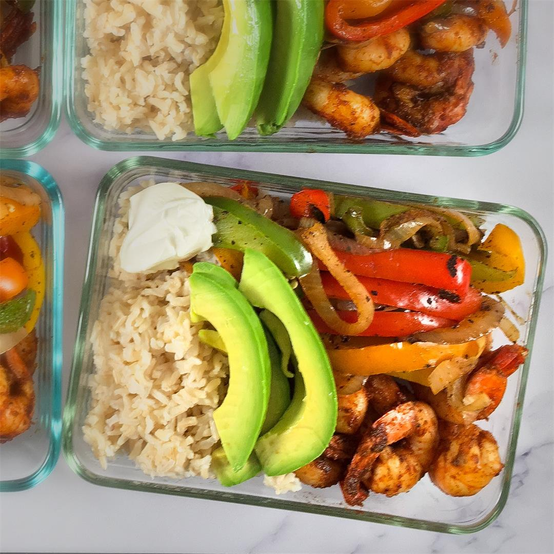 Easy Shrimp Fajita Bowl Meal Prep