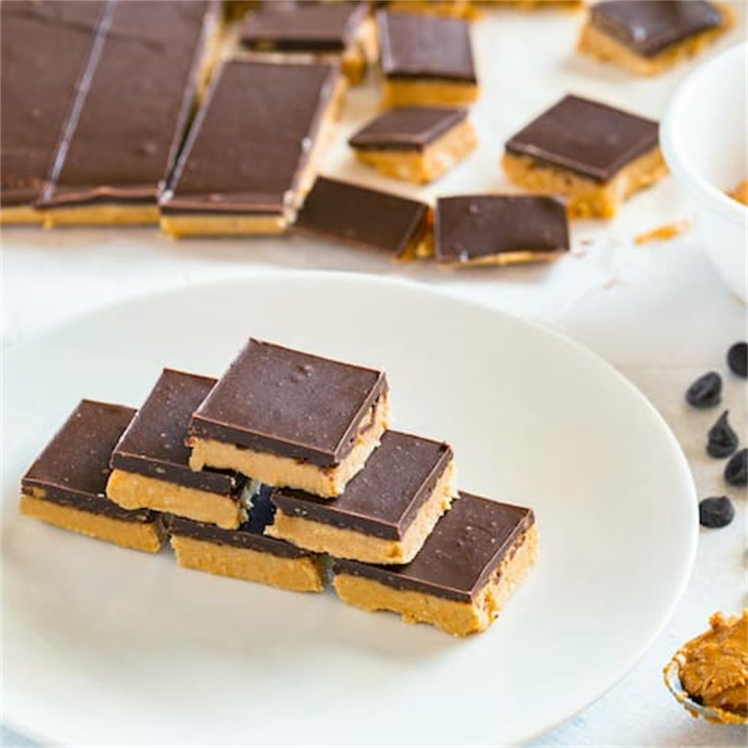 Low Carb Peanut Butter Cups in Easy to Make Squares