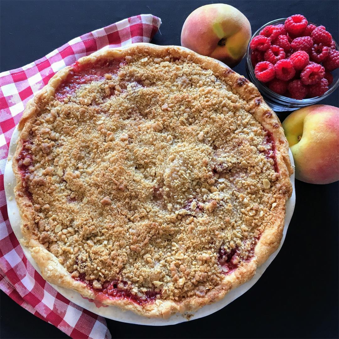Deep Dish Peach Raspberry Pie