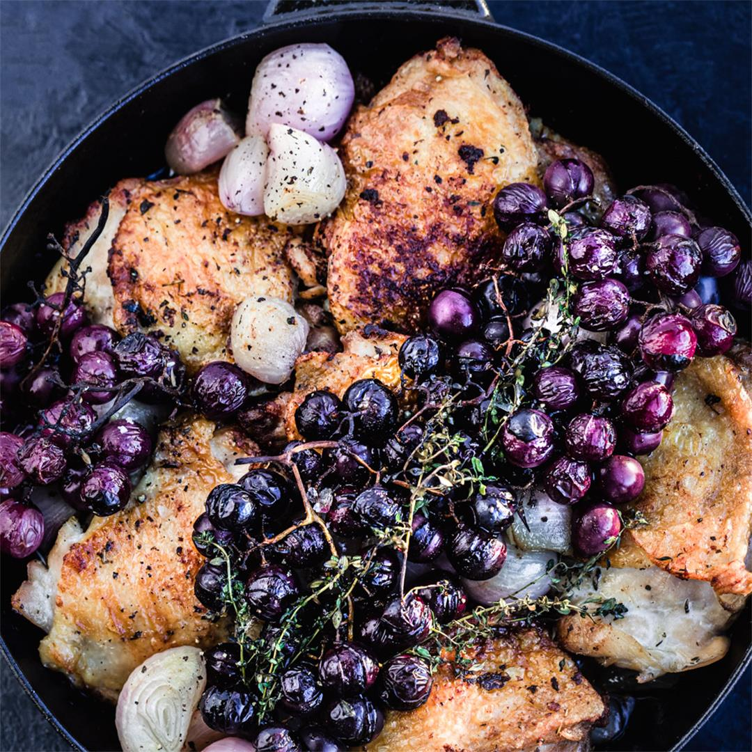 Thyme Roasted Chicken with Caramelized Shallots & Grapes