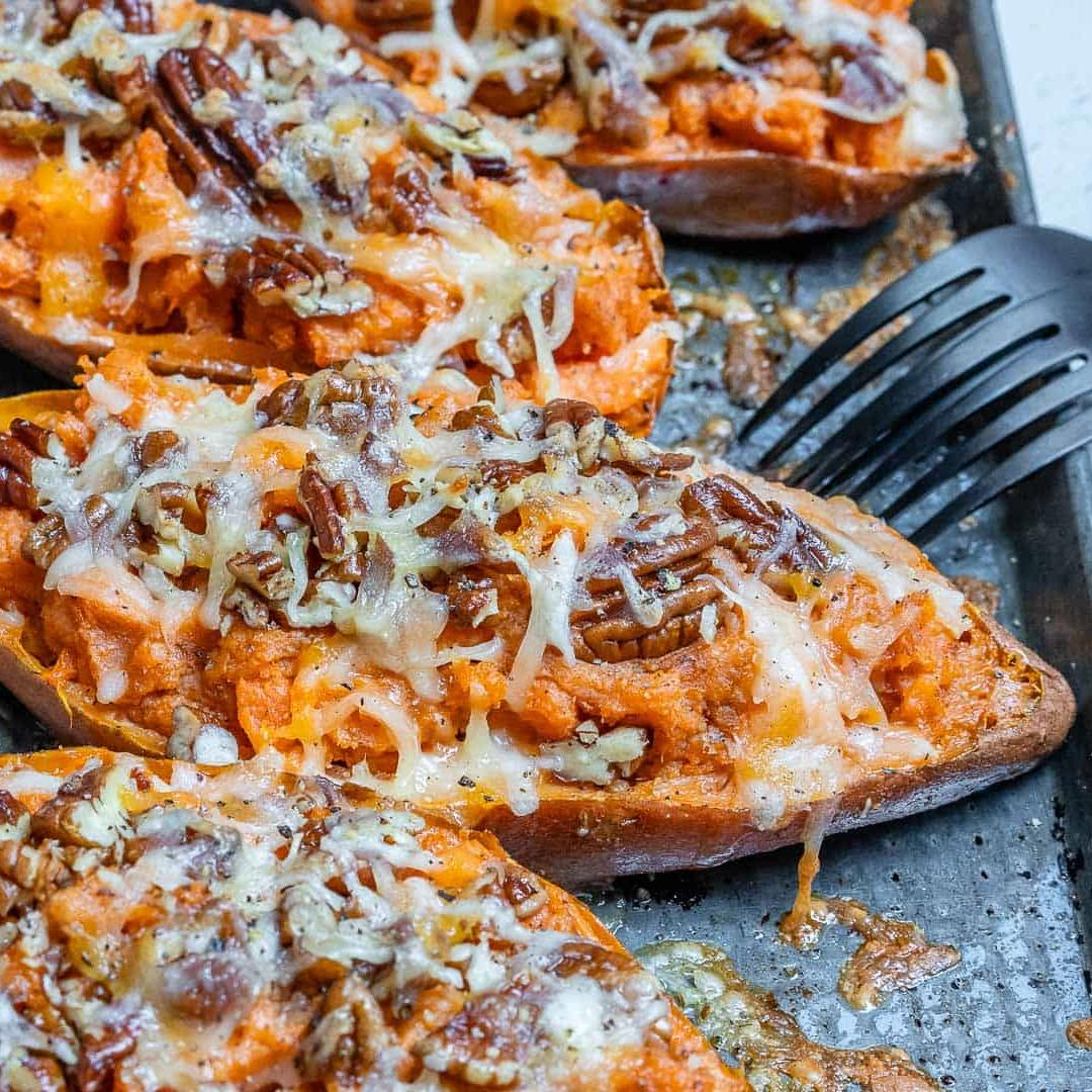 Pumpkin Spice Twice Baked Sweet Potatoes