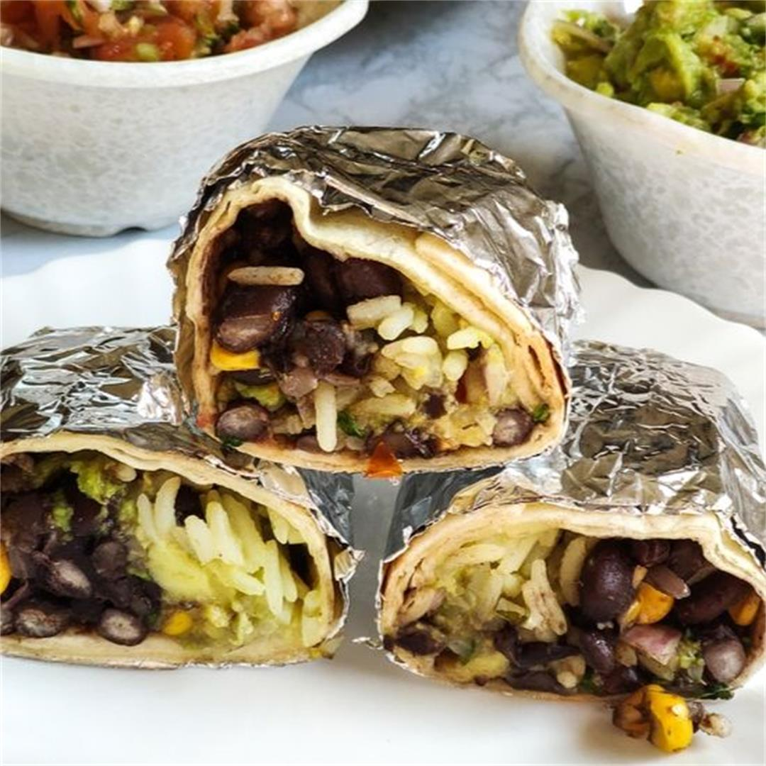 Vegan burritos recipe with cilantro lime rice and black bean