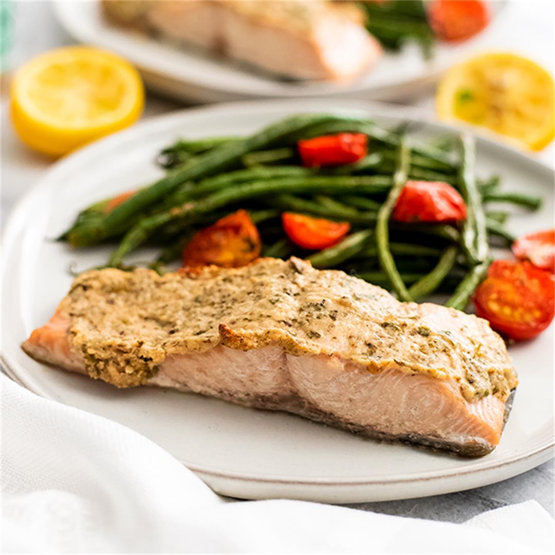 Tahini Herb Crusted Salmon Sheet Pan Meal