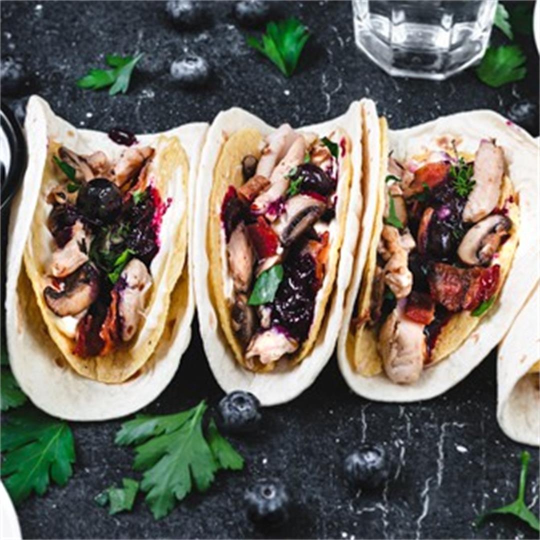 Two-Layer Leftover Turkey Tacos with Savory Blueberry Sauce