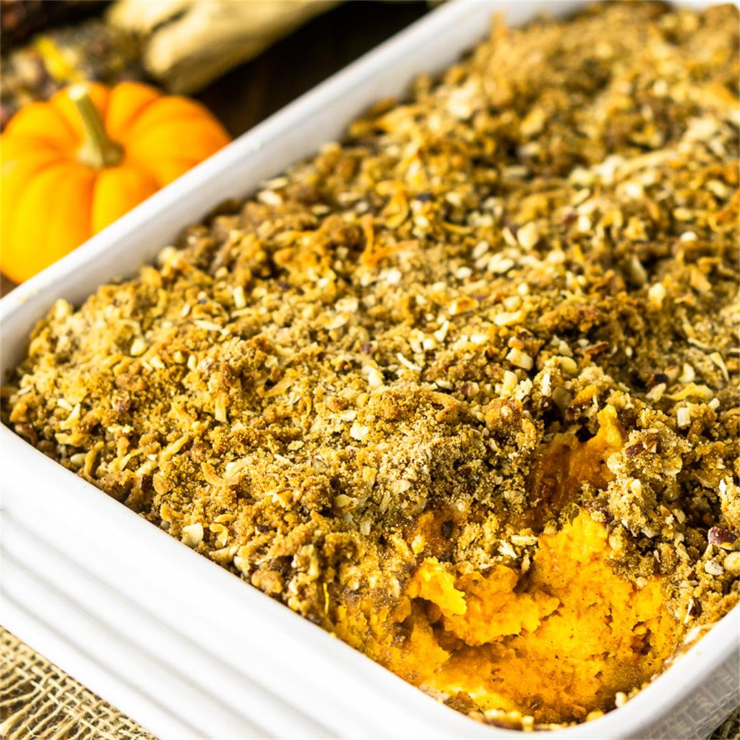 Sweet Potato Souffle With Coconut-Hazelnut Streusel