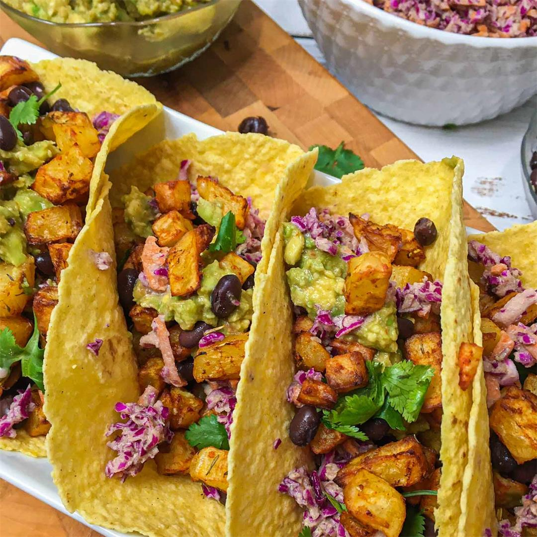Crispy Potato Tacos w/ Black Beans & Slaw-This Healthy Kitchen