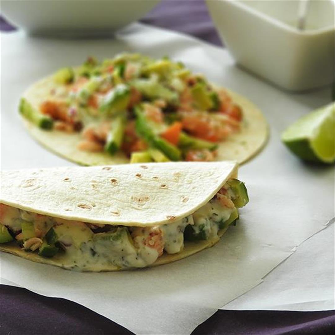 Salmon Tacos with Cucumber and Tomato Salsa