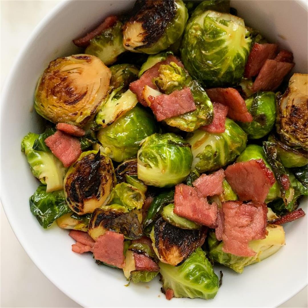 Maple Balsamic Brussels Sprouts with Turkey Bacon