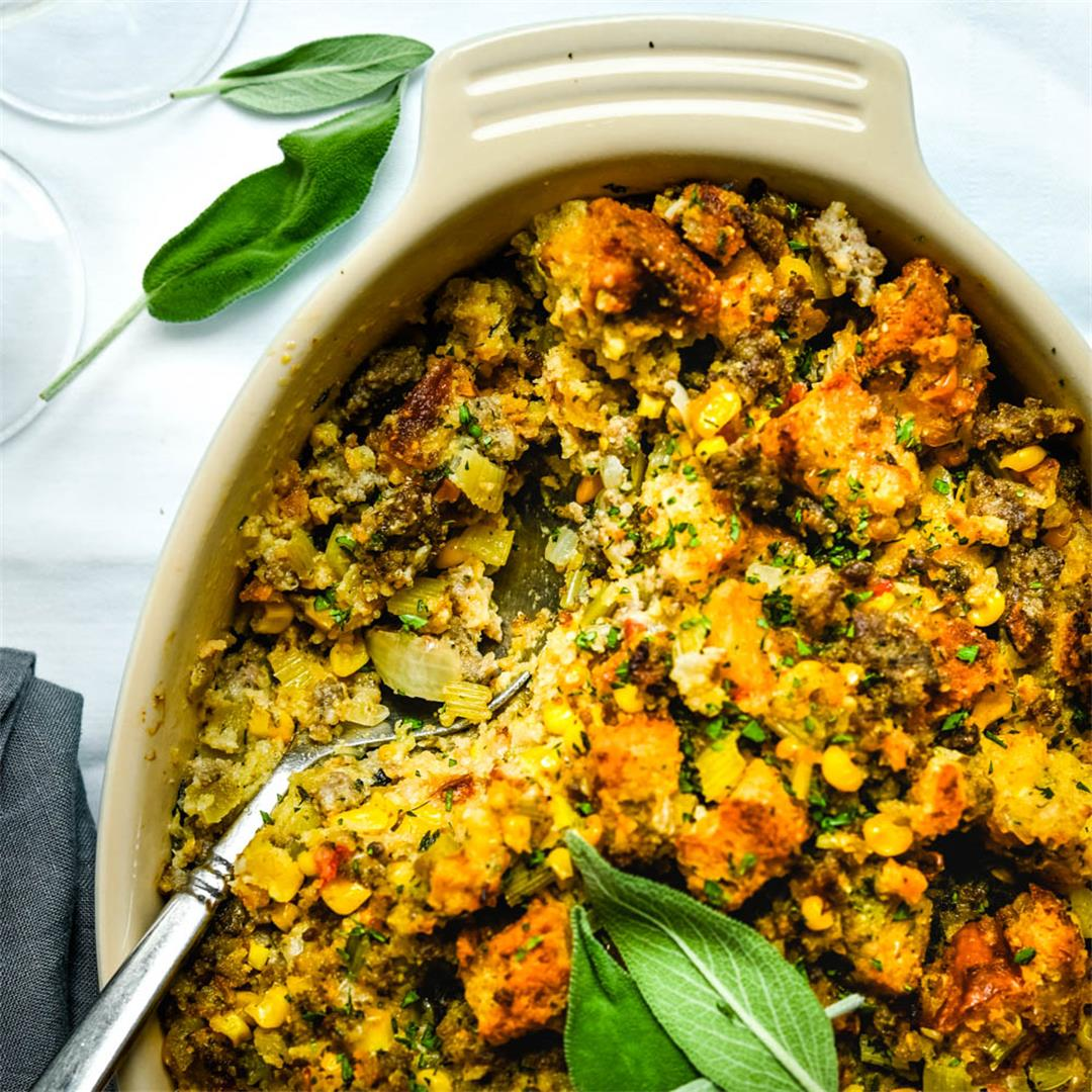 Green Chile Cornbread Stuffing Casserole with Sausage