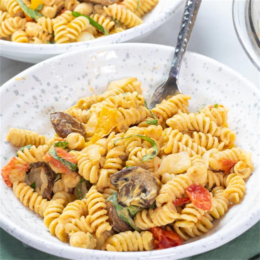 Warm Pasta Salad with Hummus and Sheet Pan Roasted Vegetables
