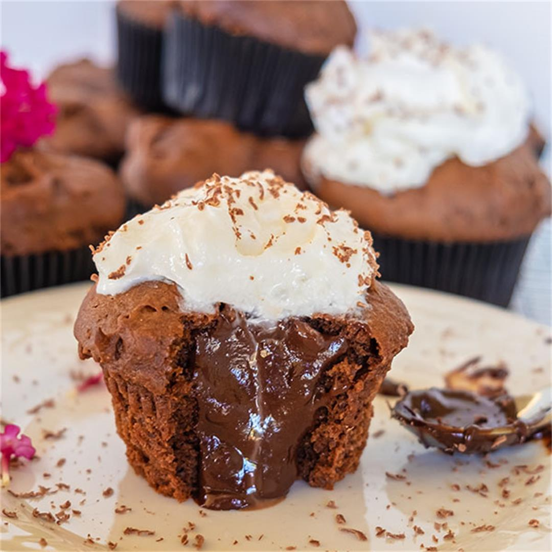 Chocolate Filled Cupcakes (Gluten-Free, Egg-Free)