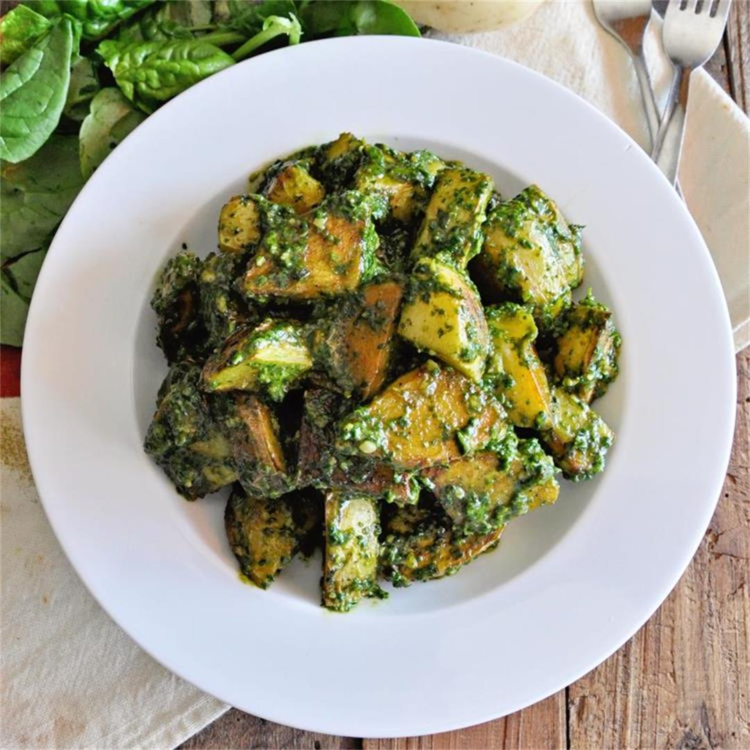 Roasted Spanish Potatoes with Spinach Pesto