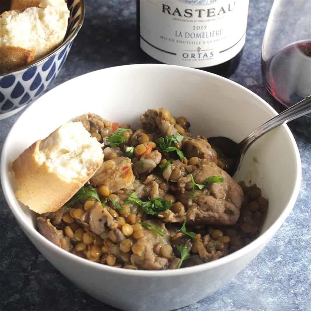 Chicken Lentil Stew and Rhône Wine from Rasteau #winophiles