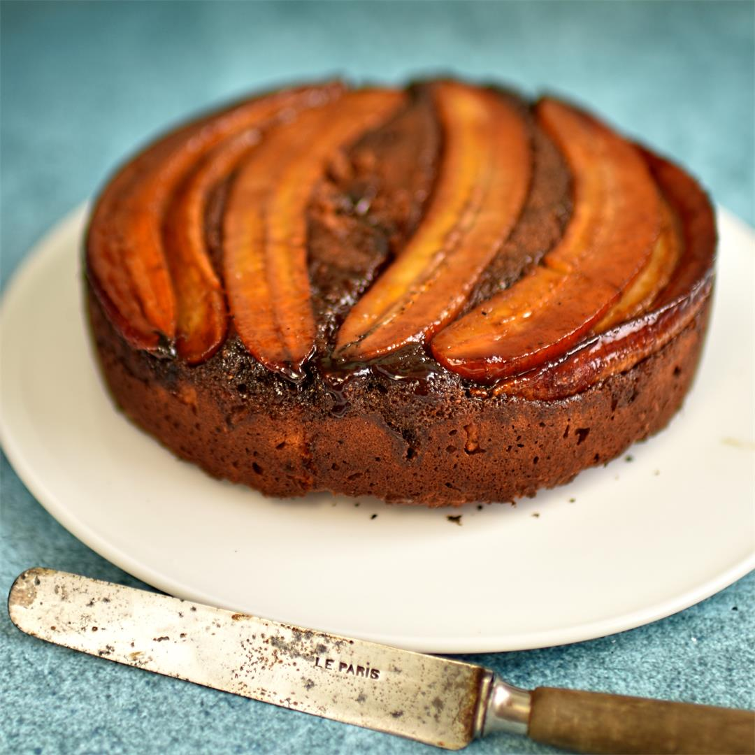gluten free caramelised banana cake