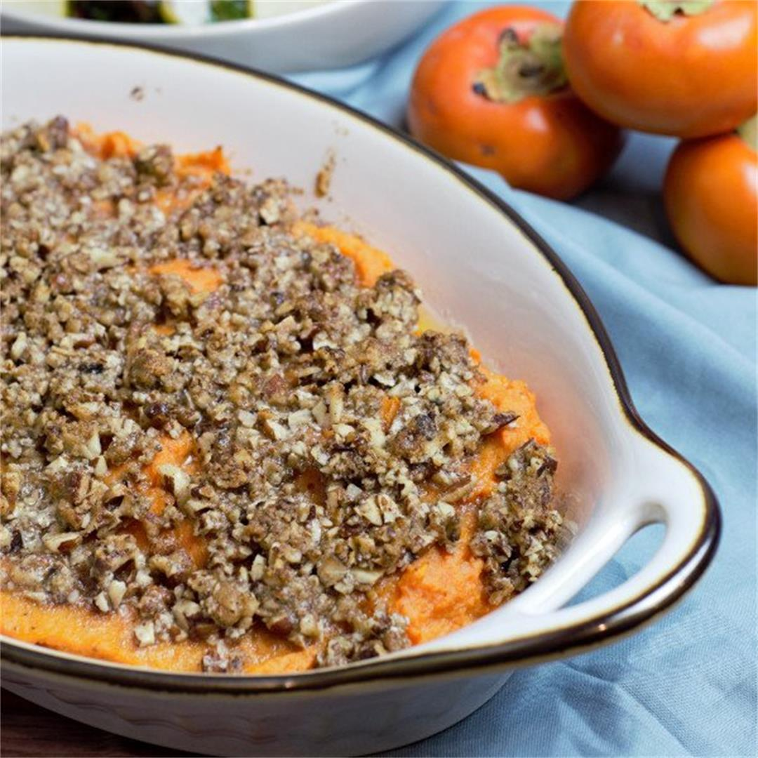 Sweet Potato Casserole with Butter Pecan Topping