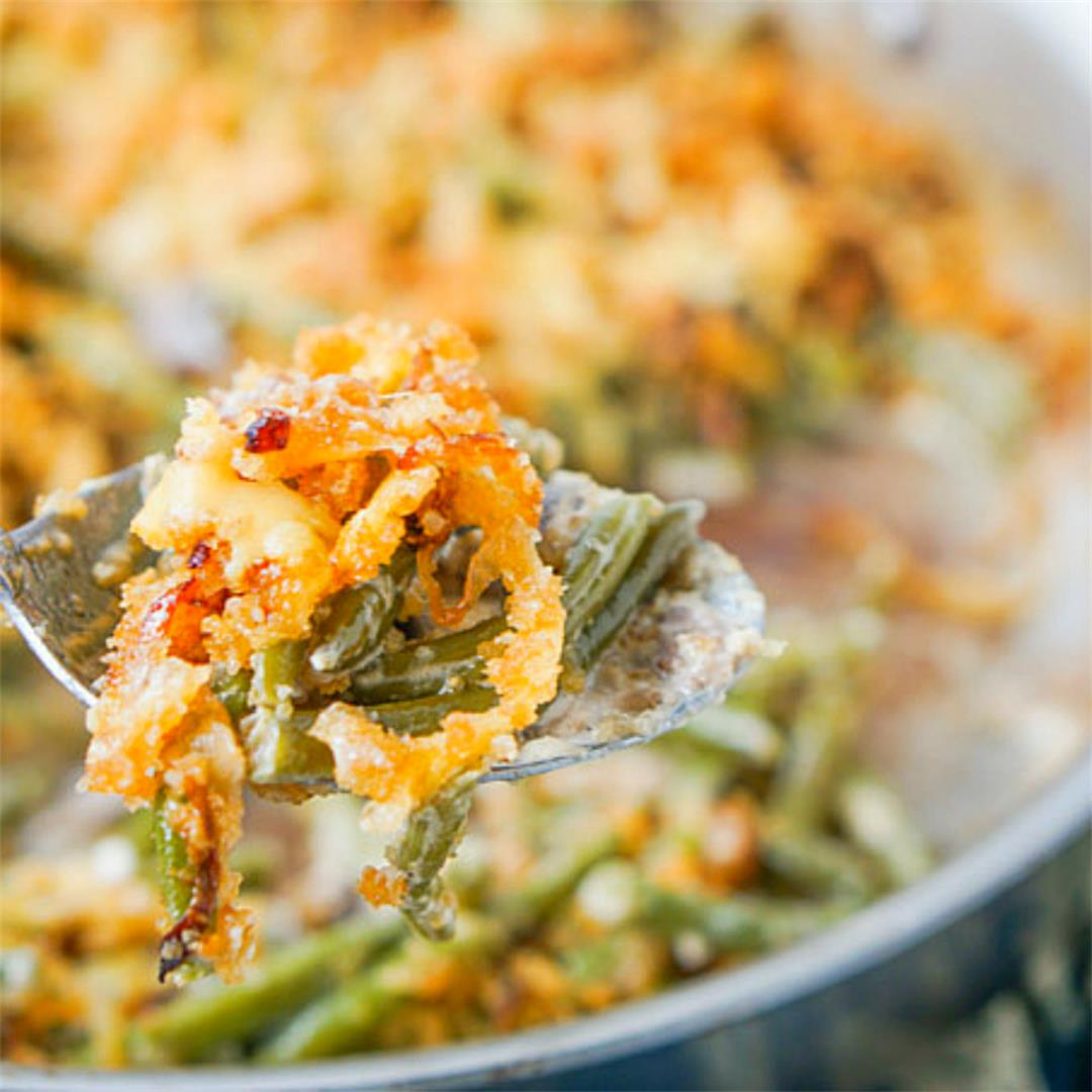 Keto Green Bean Casserole- a low carb side dish for Thanksgivin