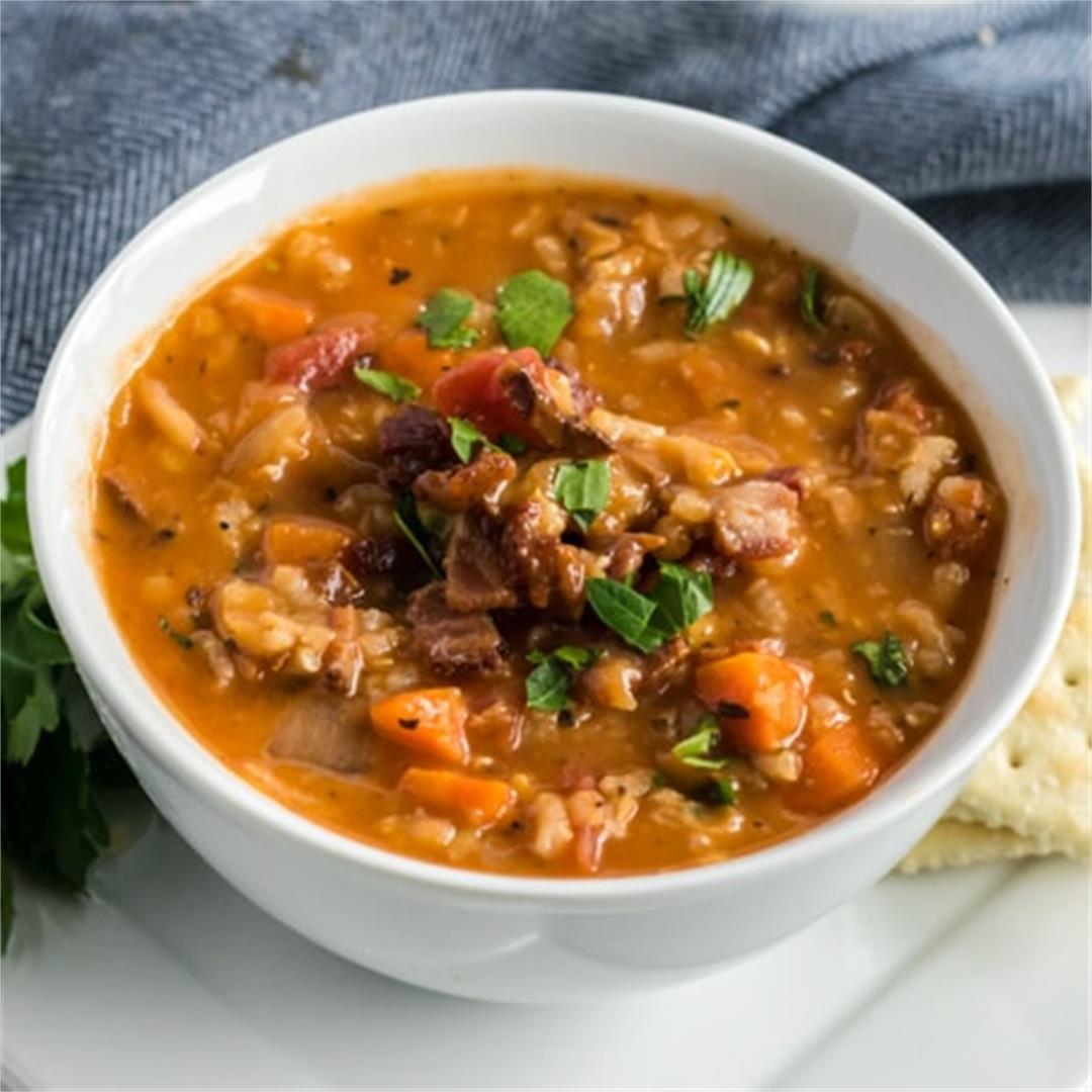 Lentil Soup (with rice, tomatoes and BACON)