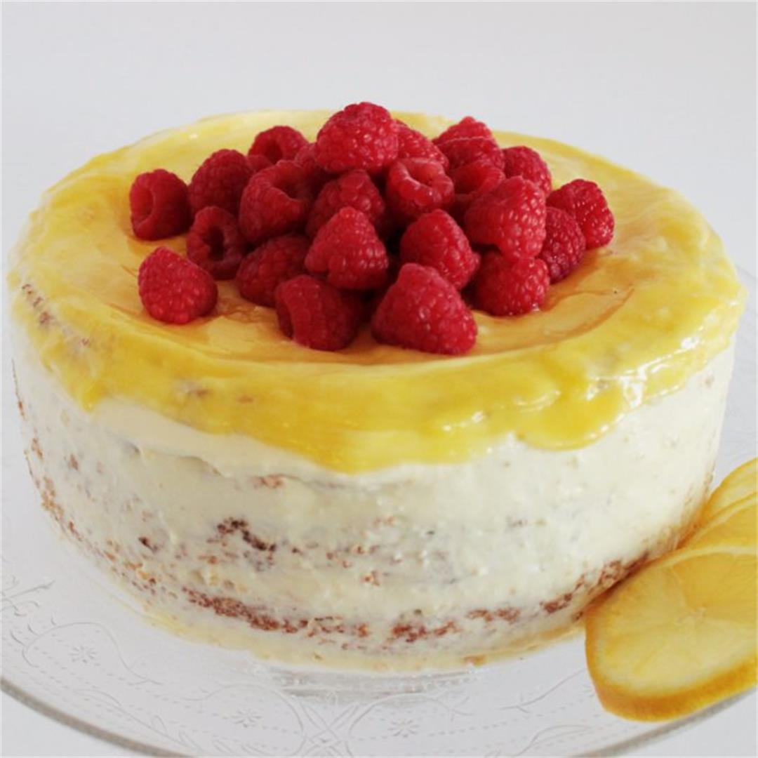 Lemon curd raspberry cake (gluten-free)