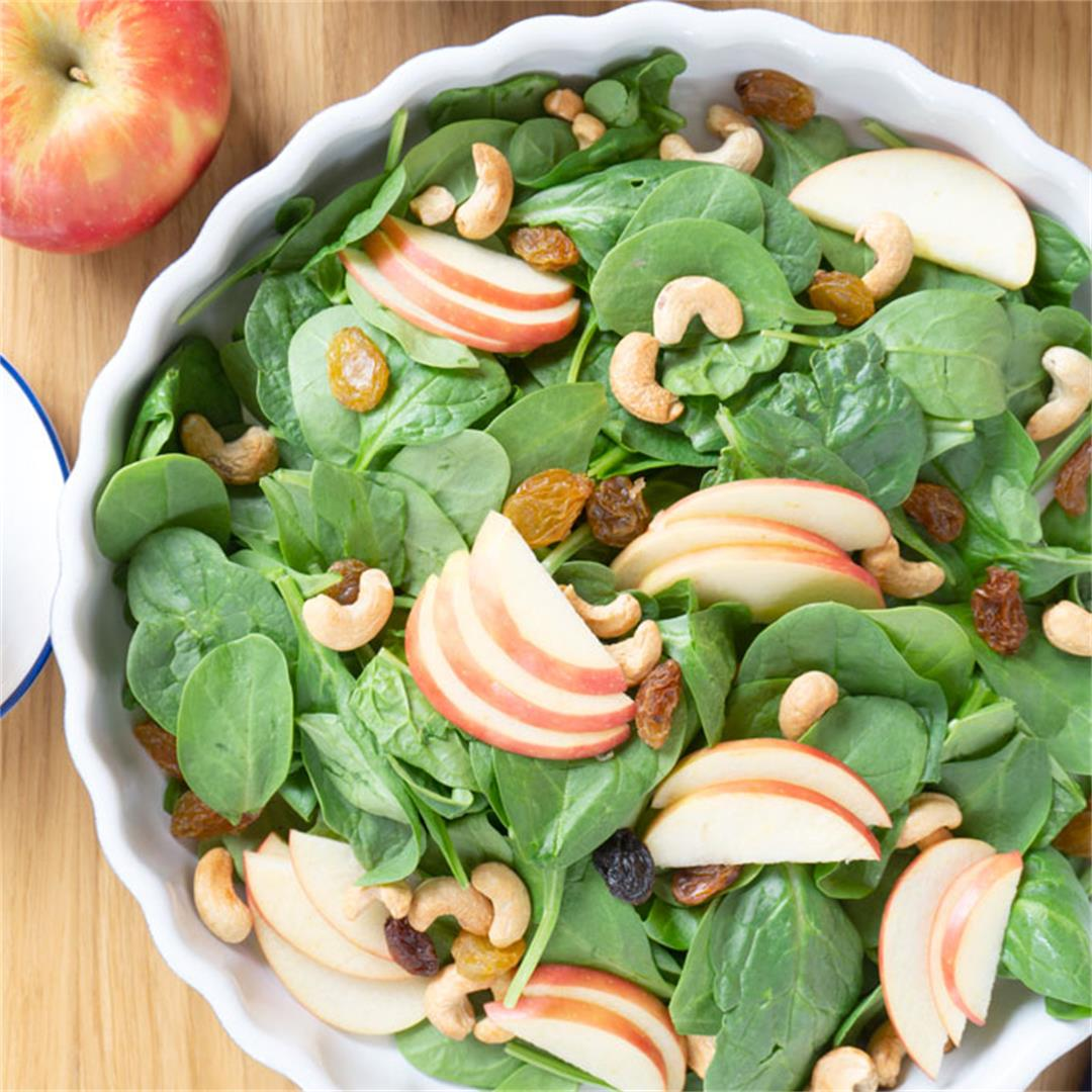 Apple Spinach Salad with Toasted Cashews
