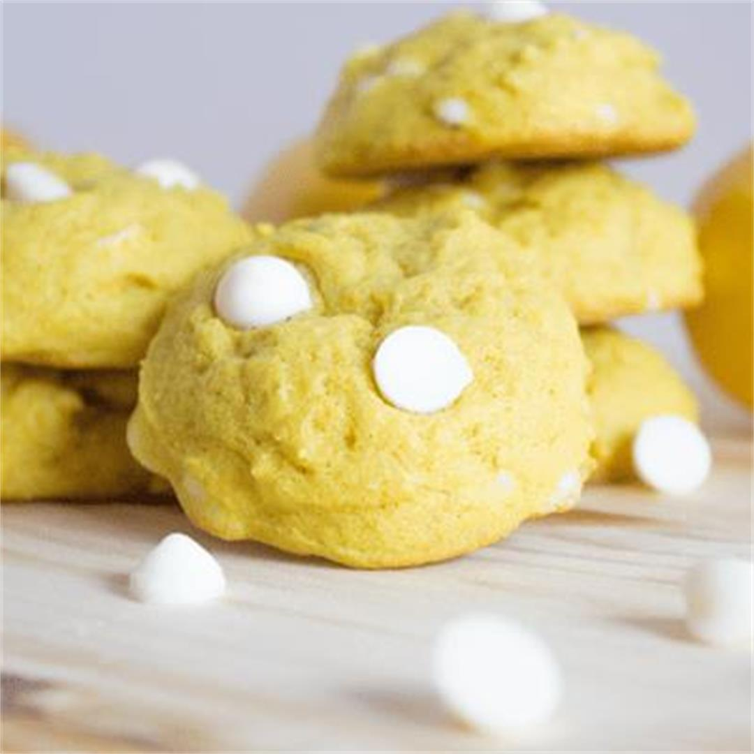 Reduced-Sugar Lemon Cookies with White Chocolate Chips