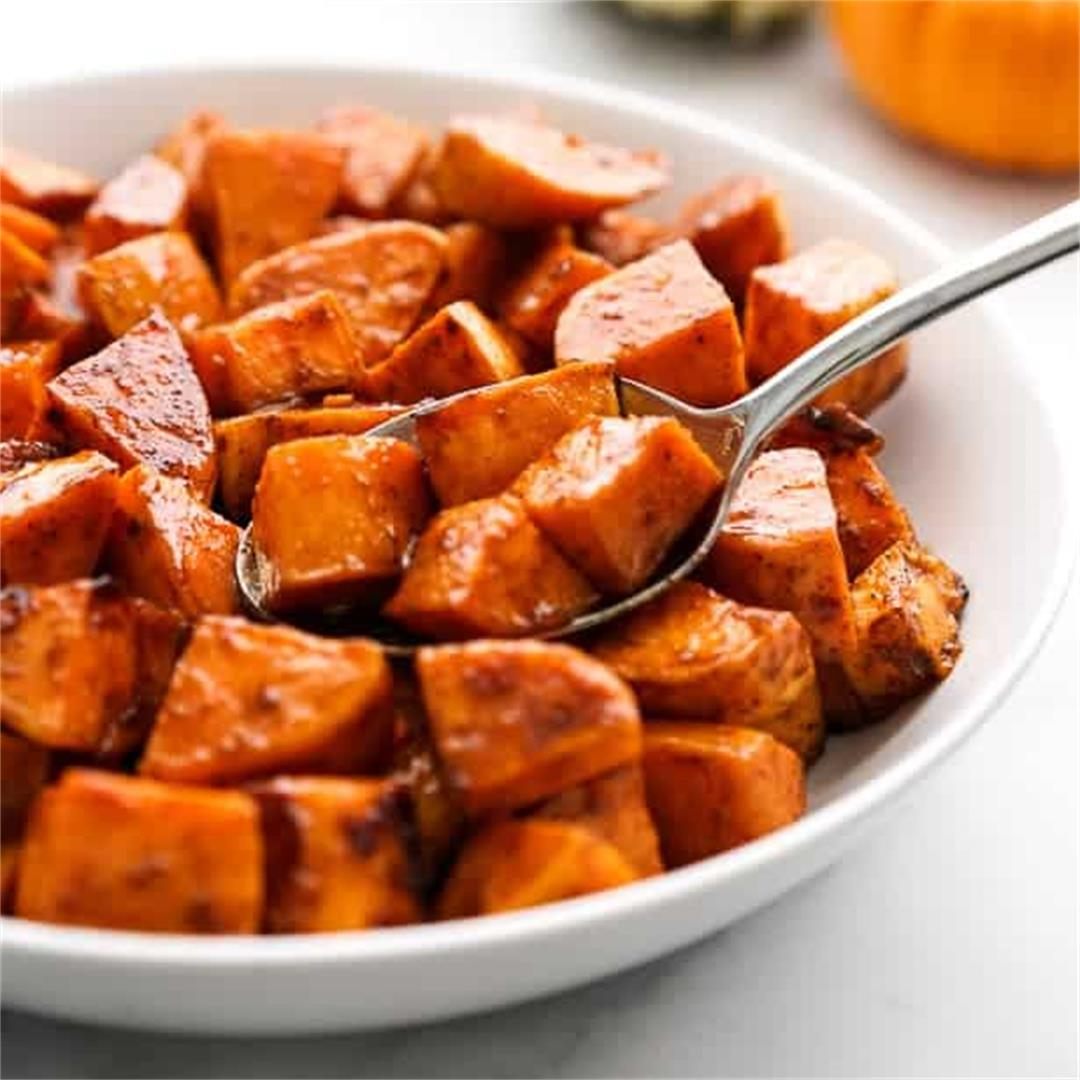 Spicy Roasted Sweet Potatoes (Sweet and Spicy!)