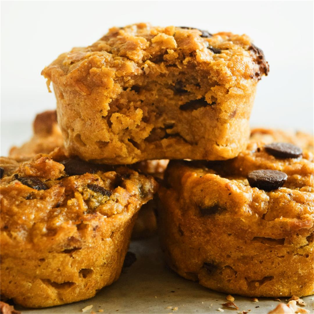Pumpkin Muffins with Pecans and Dark Chocolate
