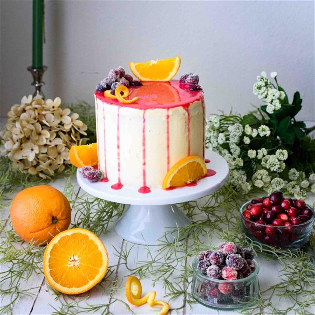 Orange Cake with Cranberry Drip