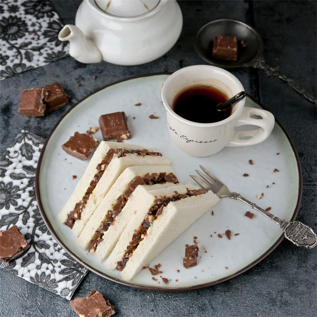 High tea sandwiches with large chunks of real chocolate!