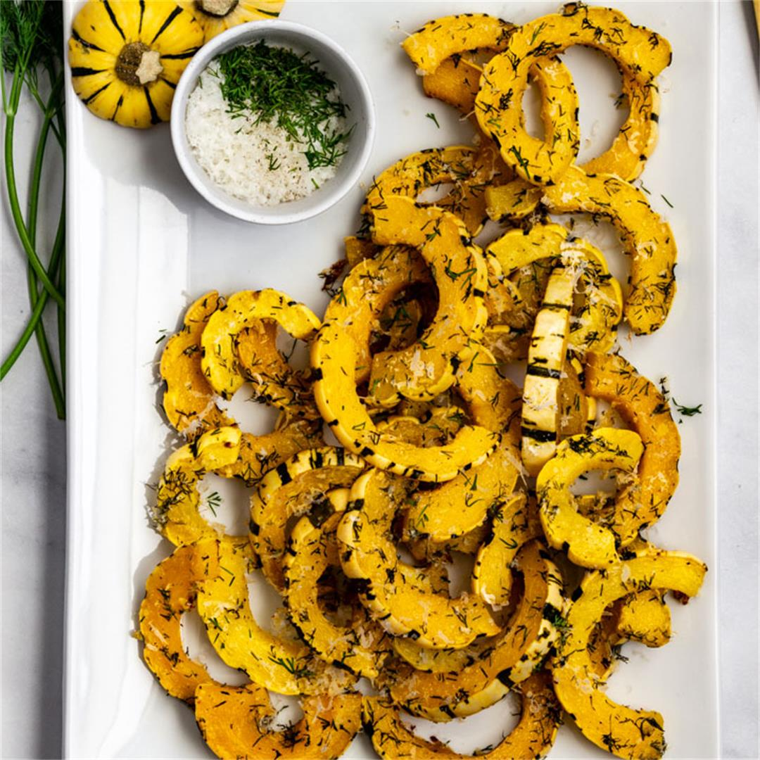 Roasted Delicata Squash with Parmesan & Dill