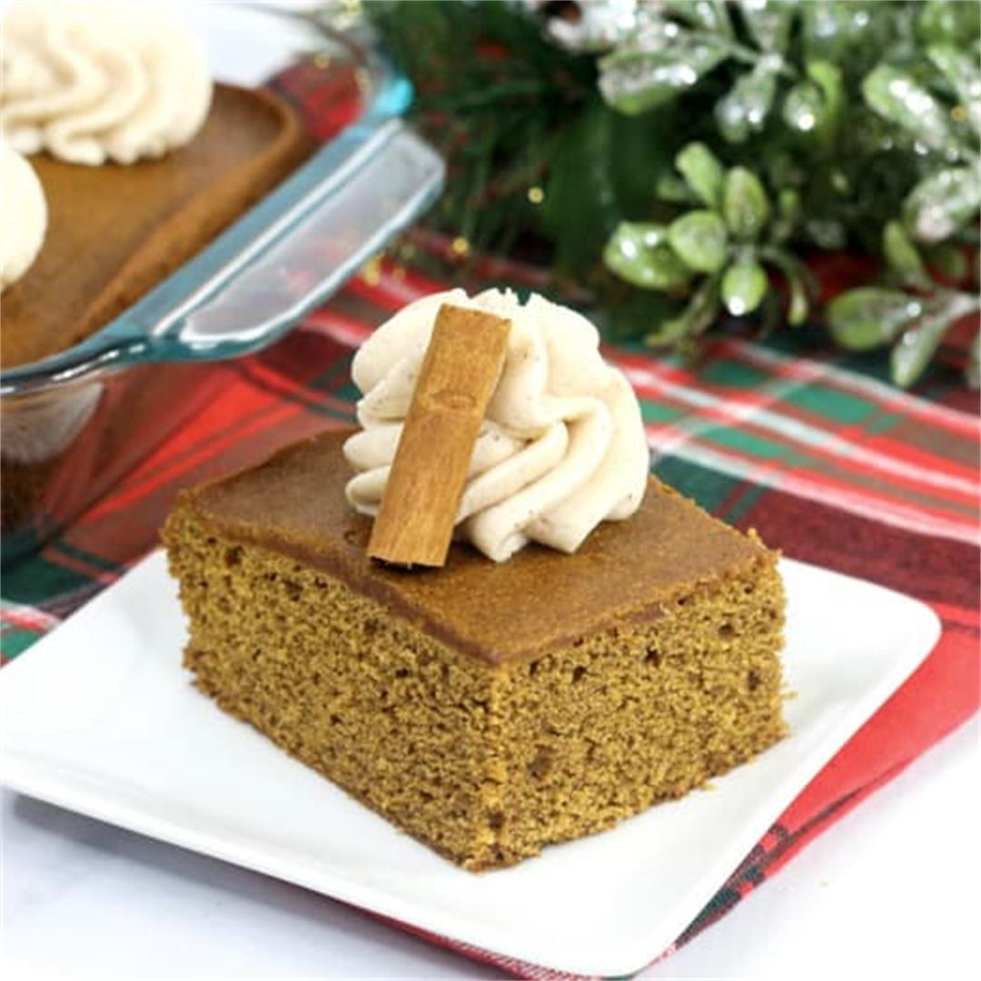 Old Fashioned Gingerbread Cake with Cinnamon Frosting