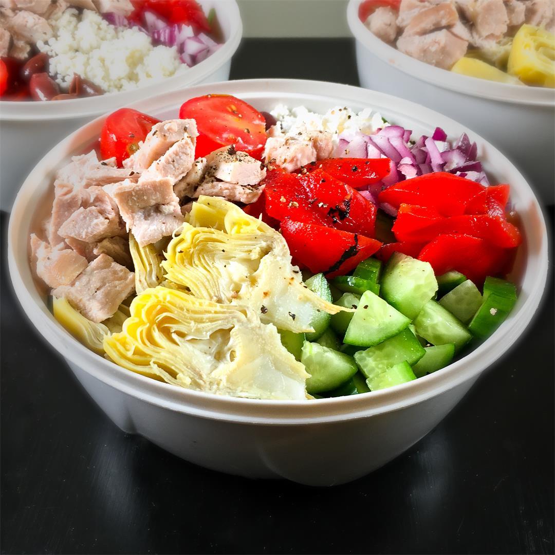 Turkey Leftover Meals: Greek Salad Meal Prep