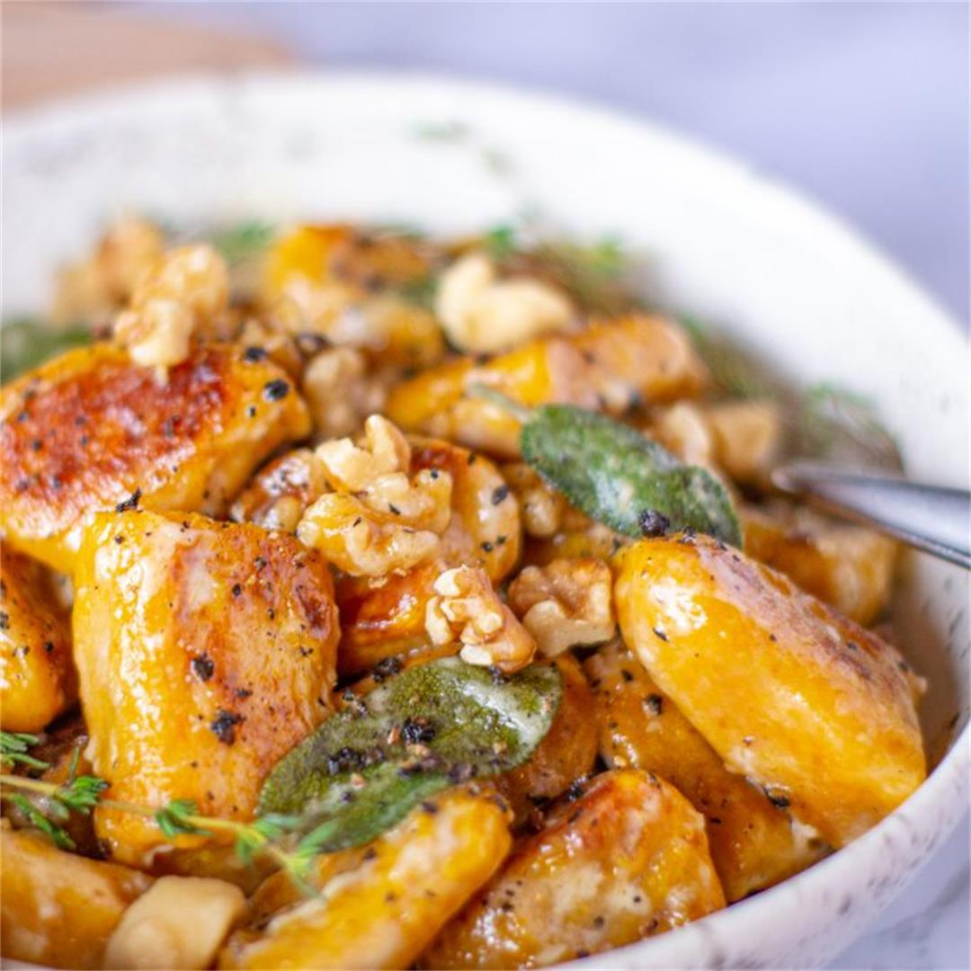 Pumpkin Gnocchi with Walnuts and Creamy Sage Sauce